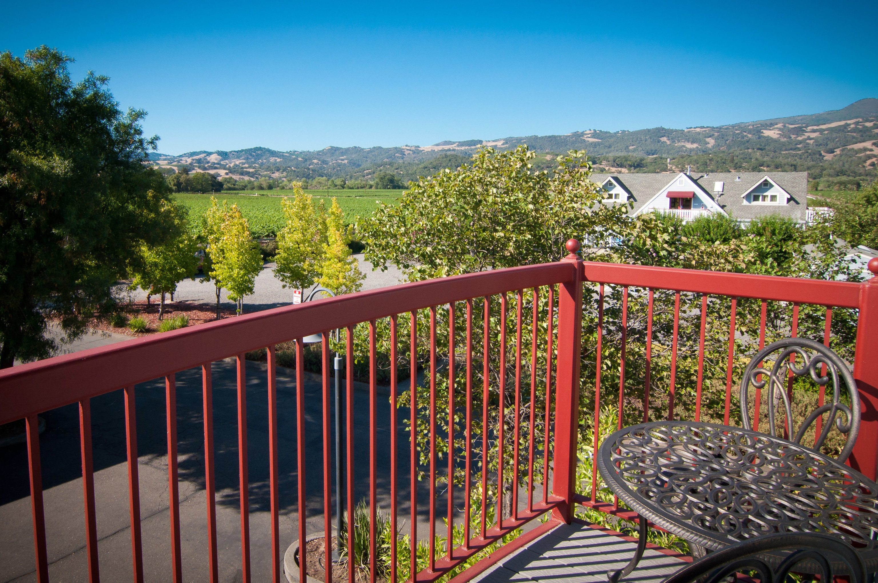 Fence tree sky building red Deck park porch railing colorful
