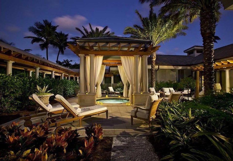 Deck Hot tub/Jacuzzi Hotels Outdoors Patio Romantic Secret Getaways Sunset Trip Ideas tree Resort mansion palace home plant Villa landscape lighting Garden
