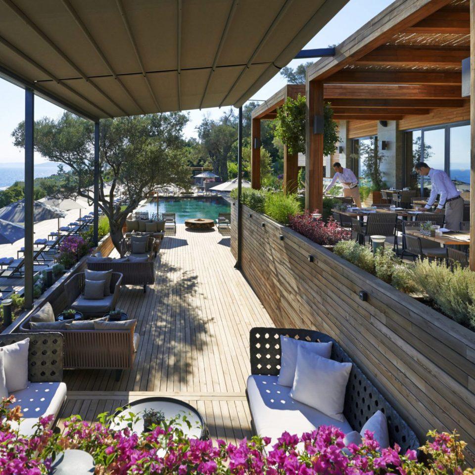 Hip Lounge Luxury Modern Scenic views building porch Resort flower Deck colonnade