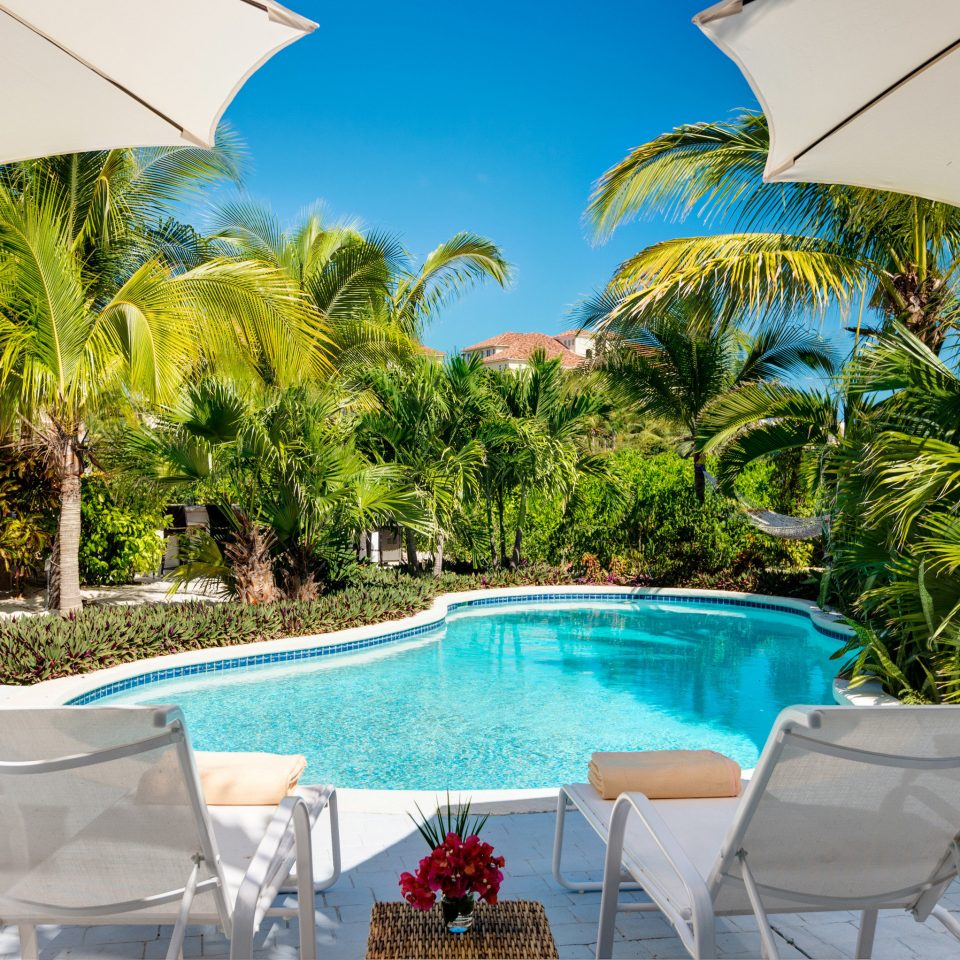 Hotels Trip Ideas tree sky umbrella leisure chair swimming pool caribbean Resort palm Villa backyard arecales set sunny Deck shade day
