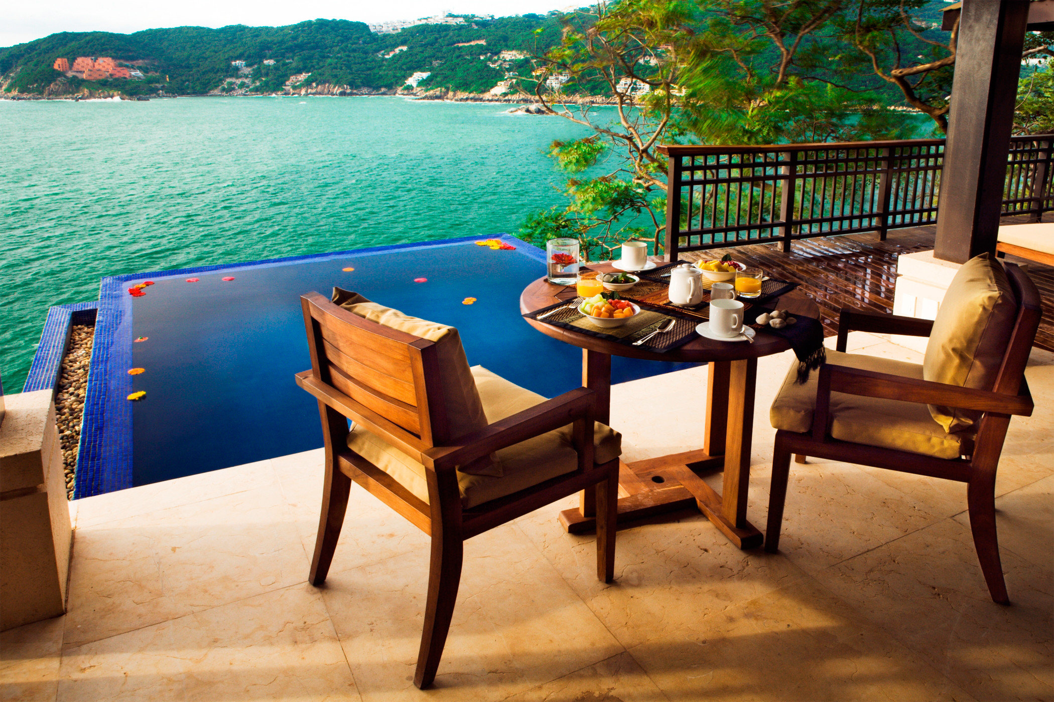 Deck Lounge Luxury Pool Romantic water leisure property home Villa Resort cottage overlooking Island