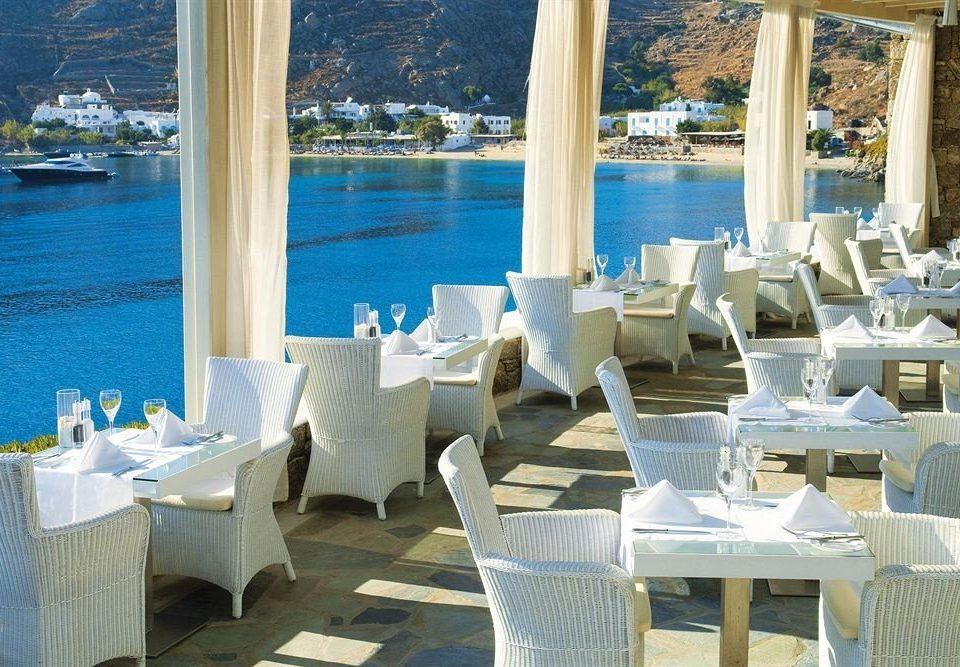 water chair restaurant banquet wedding Resort function hall overlooking Deck set Island dining table