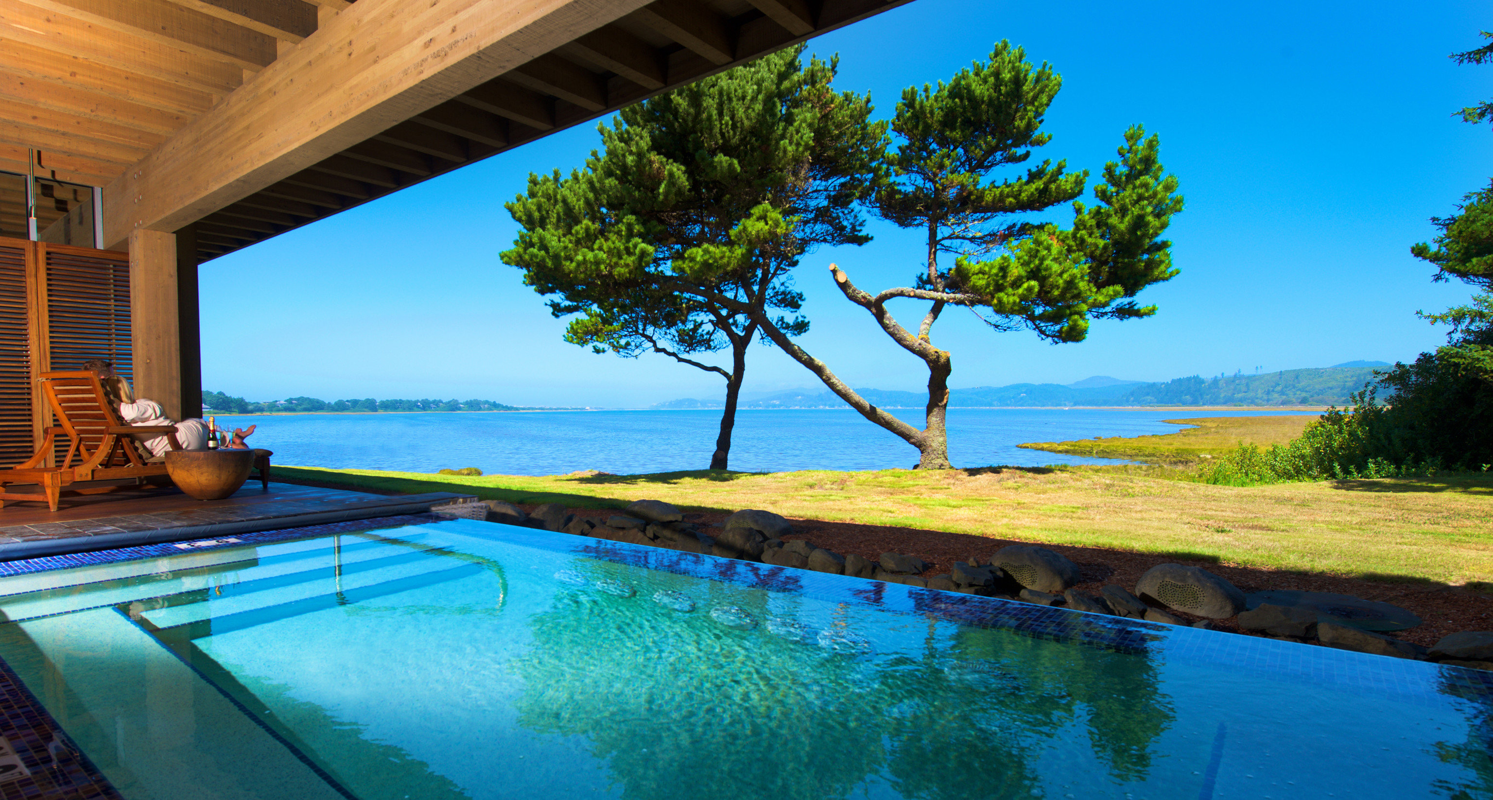 water tree swimming pool property building Resort Villa Sea backyard overlooking Deck Island