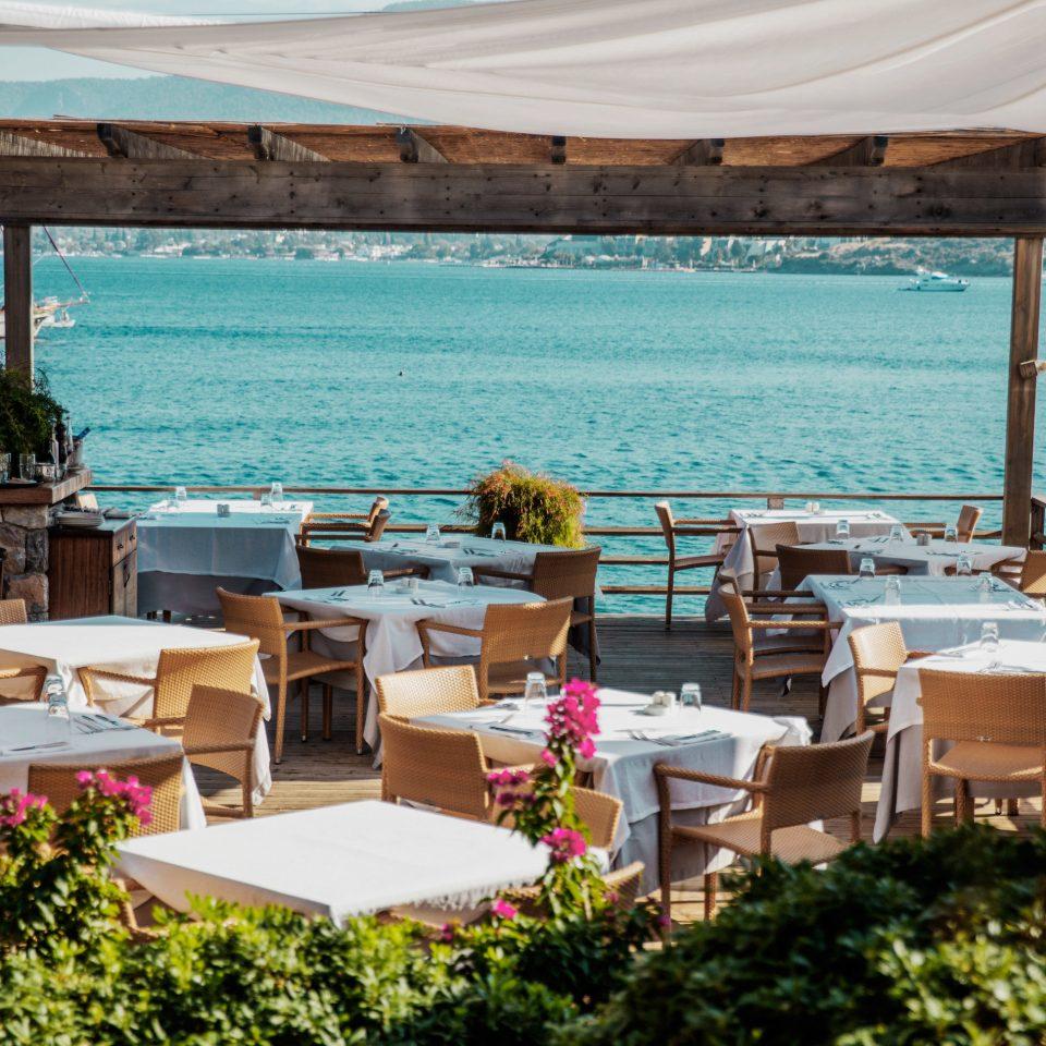 water chair Resort restaurant caribbean Villa Deck overlooking Island