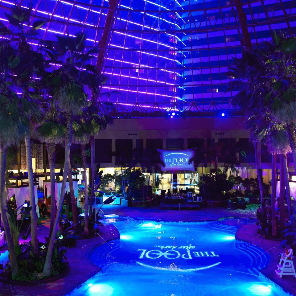 Deck Modern Patio Resort night nightclub lighting christmas lights crowd