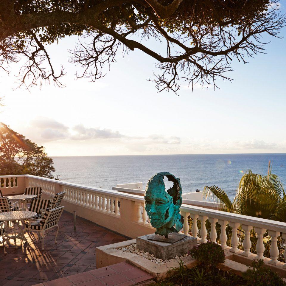 sky water tree Sea morning Ocean sunlight overlooking shore Deck