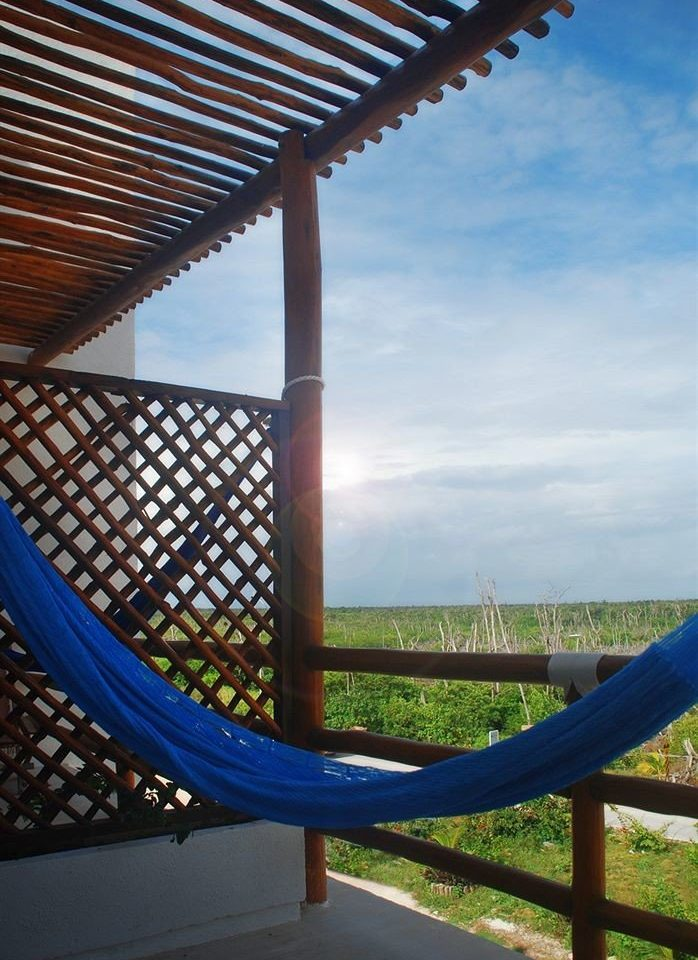 Outdoors Rustic Scenic views leisure blue chair hammock outdoor structure overlooking Deck