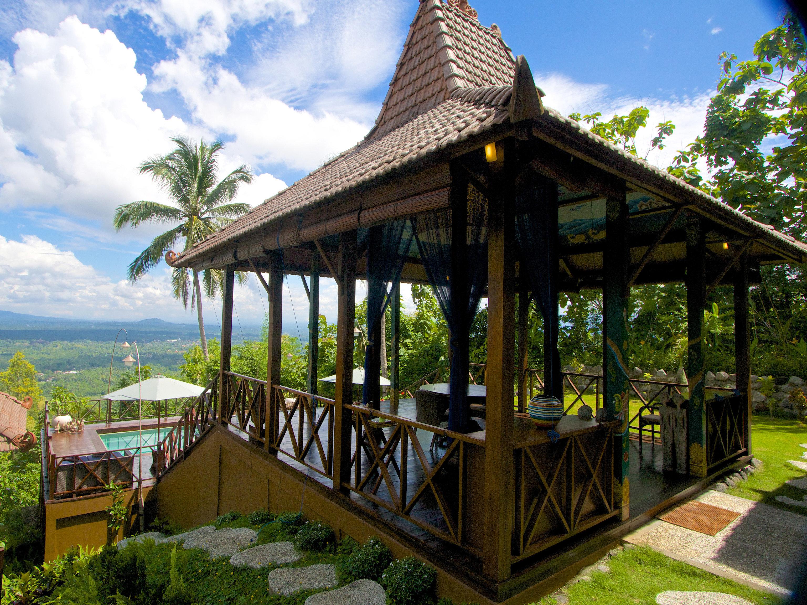 sky tree building Resort porch gazebo outdoor structure pavilion cottage Deck day