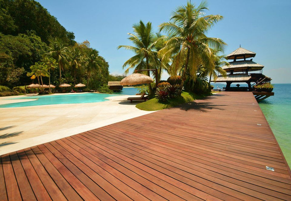 sky tree ground swimming pool leisure walkway wooden Resort caribbean Sea Deck lined day
