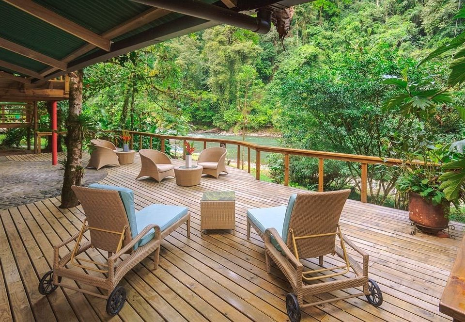 tree building property outdoor structure porch backyard Resort Villa cottage wooden Deck eco hotel