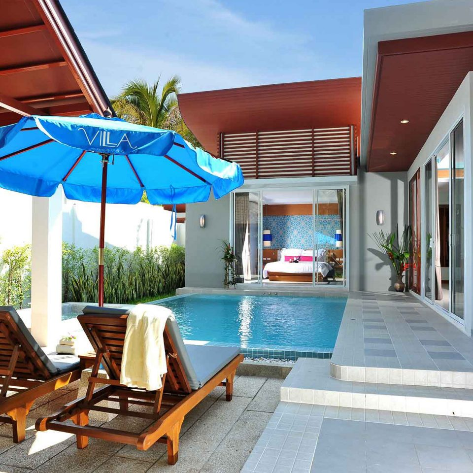 chair leisure property Resort house building home Villa cottage swimming pool wooden backyard blue Deck