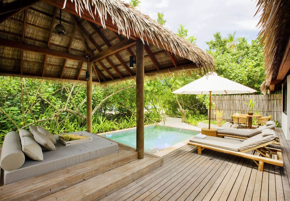 building property Resort wooden outdoor structure Villa backyard Deck eco hotel cottage swimming pool roof