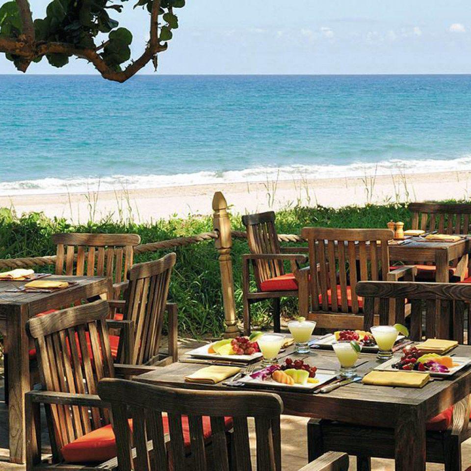 water tree chair sky Resort restaurant overlooking caribbean wooden Villa cottage set Deck