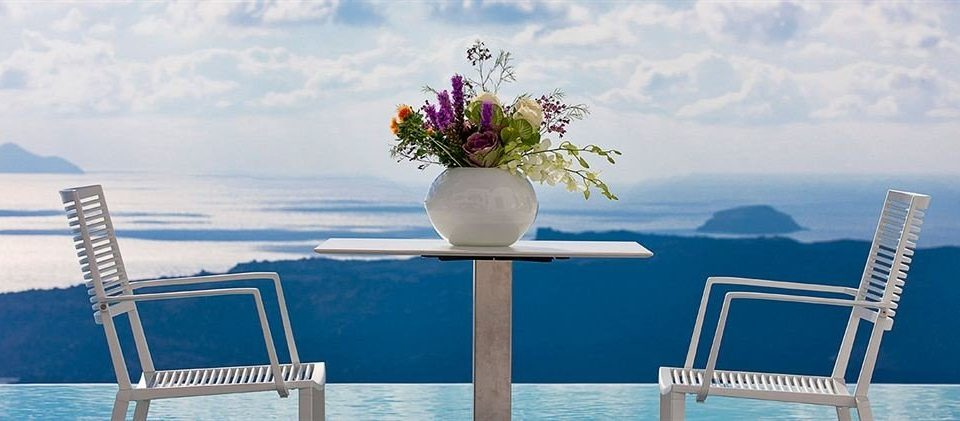 chair water blue Sea flower Deck seat shore dining table