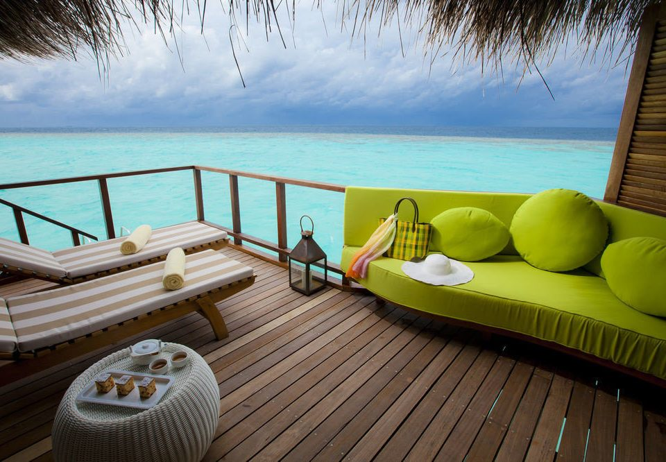 water leisure swimming pool wooden Villa living room Deck overlooking shore