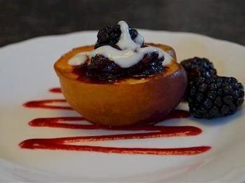 plate food dessert plant fruit white breakfast Desert chocolate cream