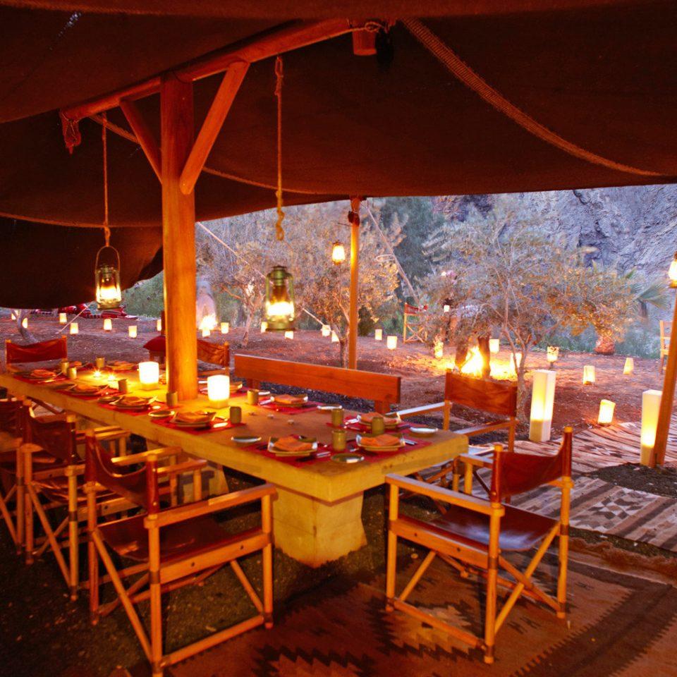 Desert Dining Rustic restaurant night evening lighting Resort