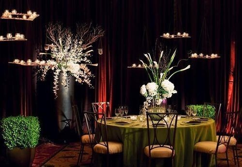 plant curtain flower flower arranging chair centrepiece floristry function hall lighting ceremony floral design banquet wedding reception ballroom Dining restaurant set fancy arranged dining table