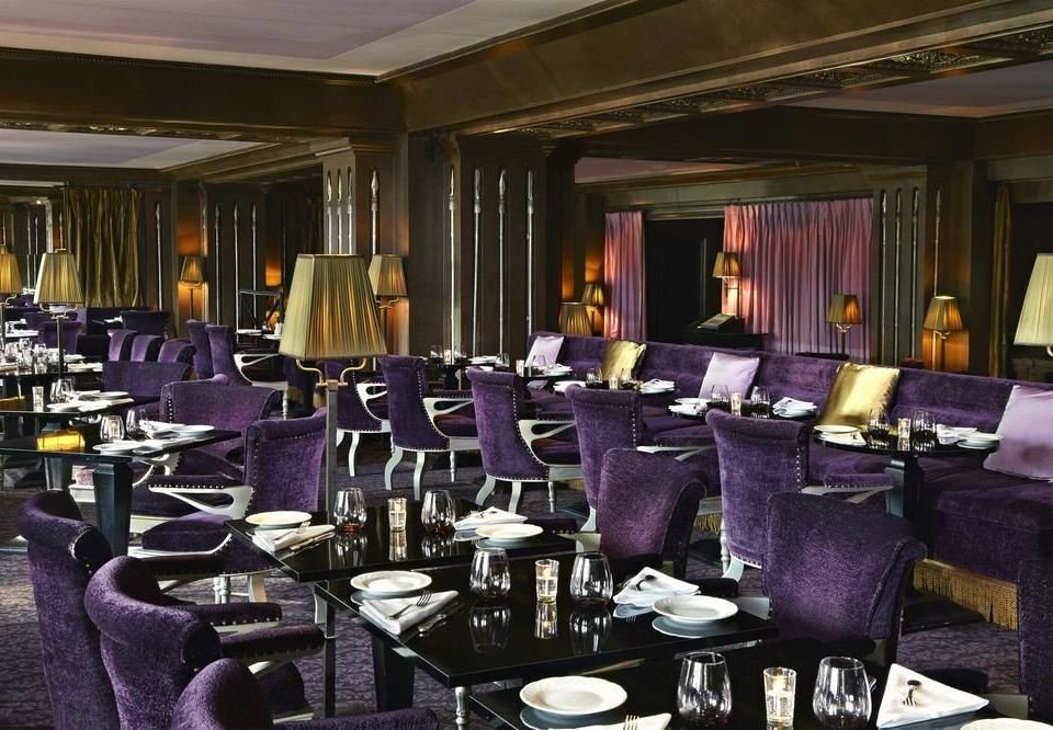 chair function hall Dining restaurant purple banquet convention center ballroom conference hall set fancy dining table