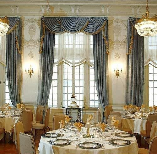 Dining curtain living room palace window treatment textile restaurant ballroom set dining table