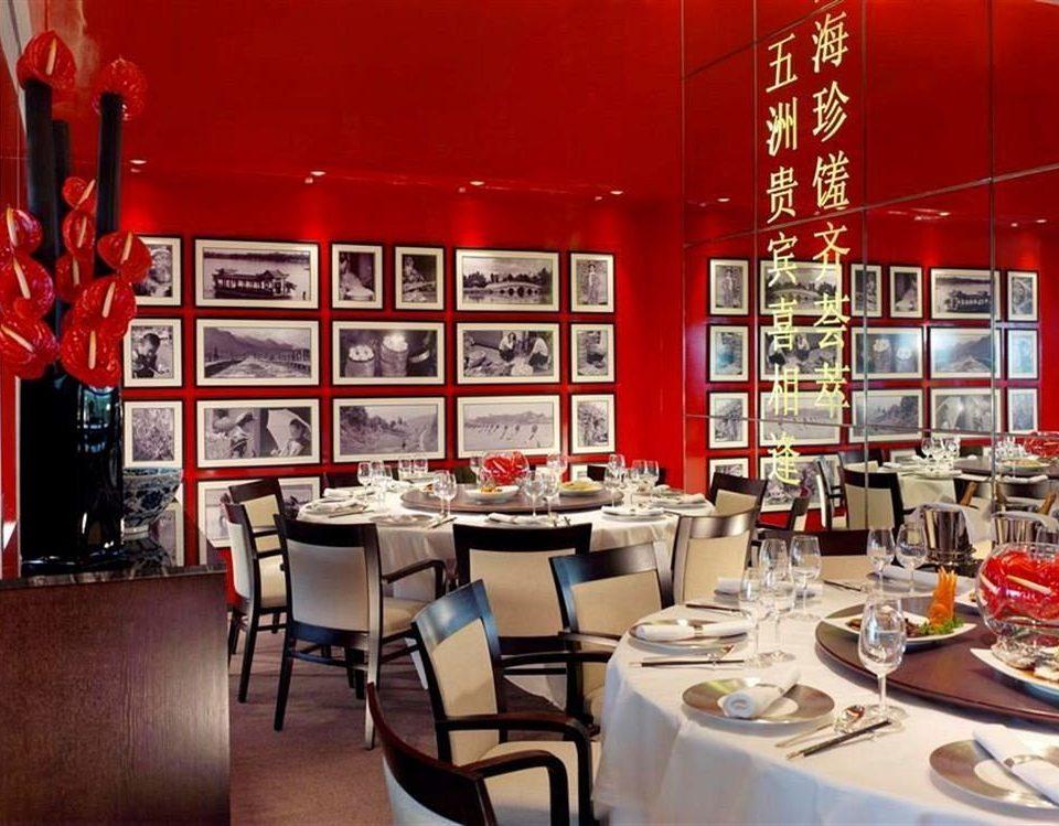 restaurant red Dining café set dining table