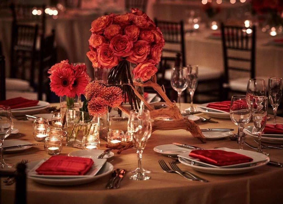 red centrepiece ceremony restaurant Dining wedding dinner wedding reception flower set dining table
