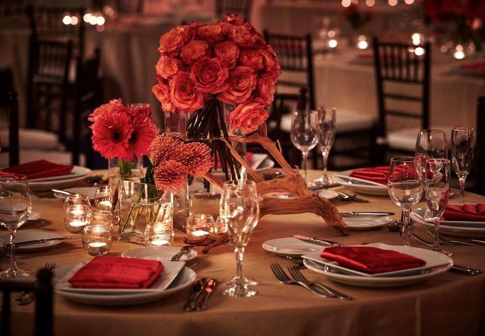 red centrepiece ceremony restaurant Dining wedding dinner wedding reception flower set dining table