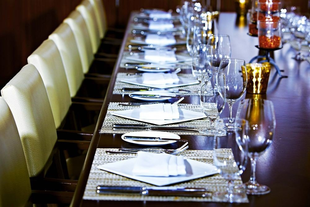 wine glasses Dining restaurant set empty dining table