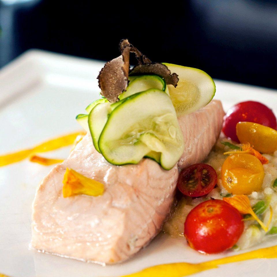 Dining Drink Eat food plate fish cuisine fruit hors d oeuvre sense meat breakfast lunch square piece de resistance