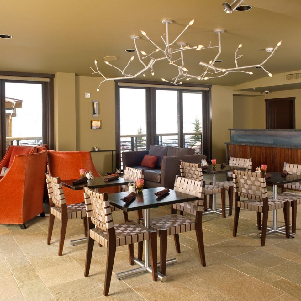 Dining Drink Eat Eco Lodge Lounge Mountains Nature Scenic views Ski chair property restaurant Lobby cafeteria dining table