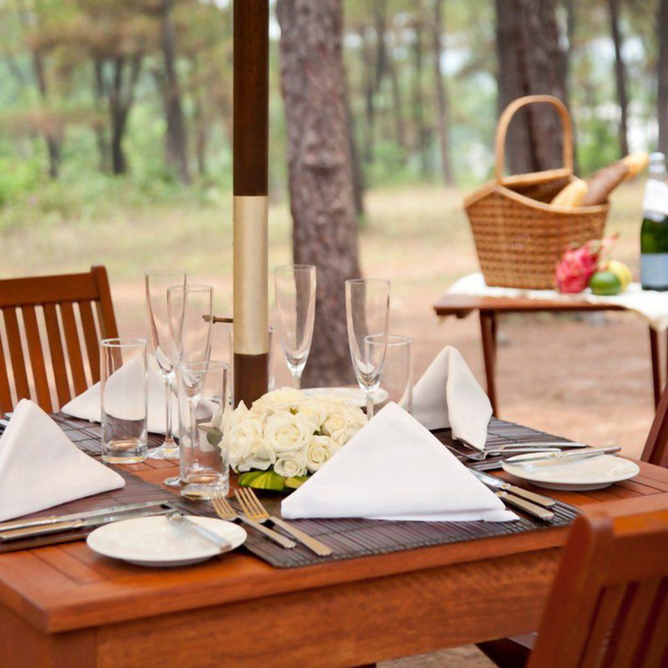 Dining Drink Eat Elegant Modern Outdoors tree wooden chair restaurant backyard rehearsal dinner Picnic dining table