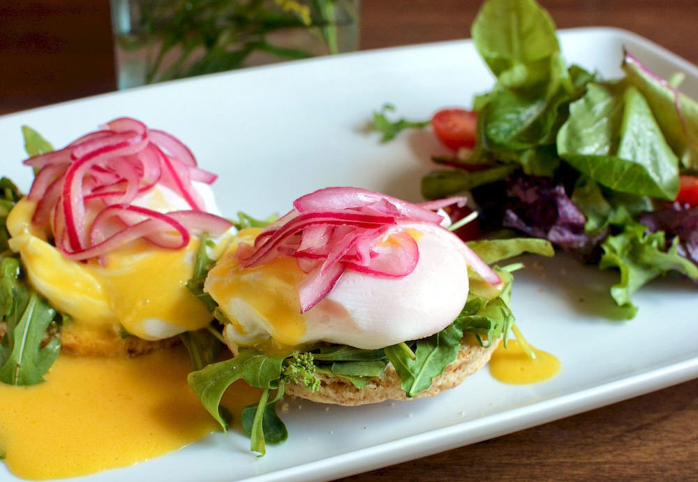 Dining Drink Eat Elegant plate food salad breakfast eggs benedict hors d oeuvre cuisine tostada vegetable meat bruschetta square piece de resistance
