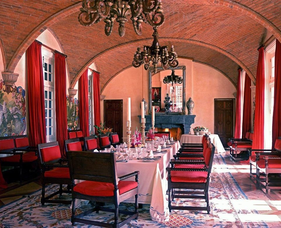 Dining Drink Eat Elegant Lounge Luxury Scenic views red chair building restaurant Lobby chapel hacienda synagogue