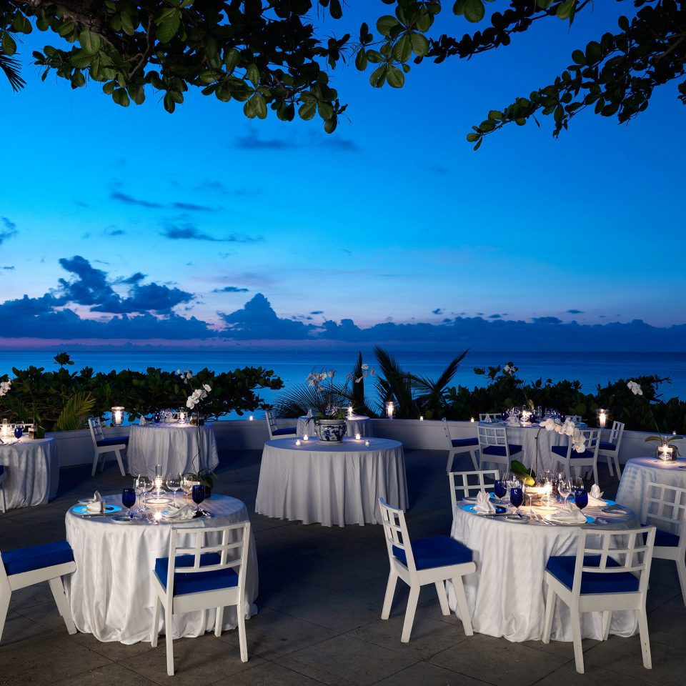 Dining Drink Eat Elegant Luxury Romantic Waterfront tree blue wedding ceremony wedding reception overlooking