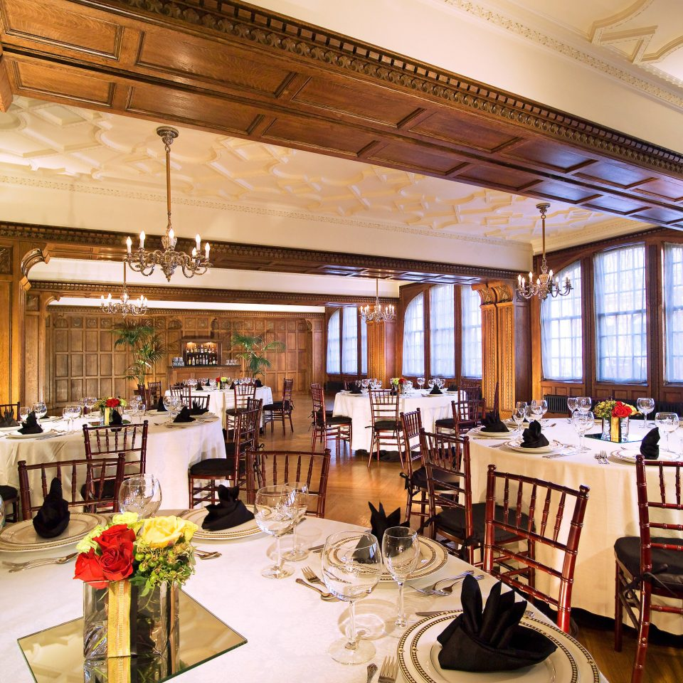 Dining Drink Eat Elegant Historic Luxury restaurant function hall ballroom cluttered dining table