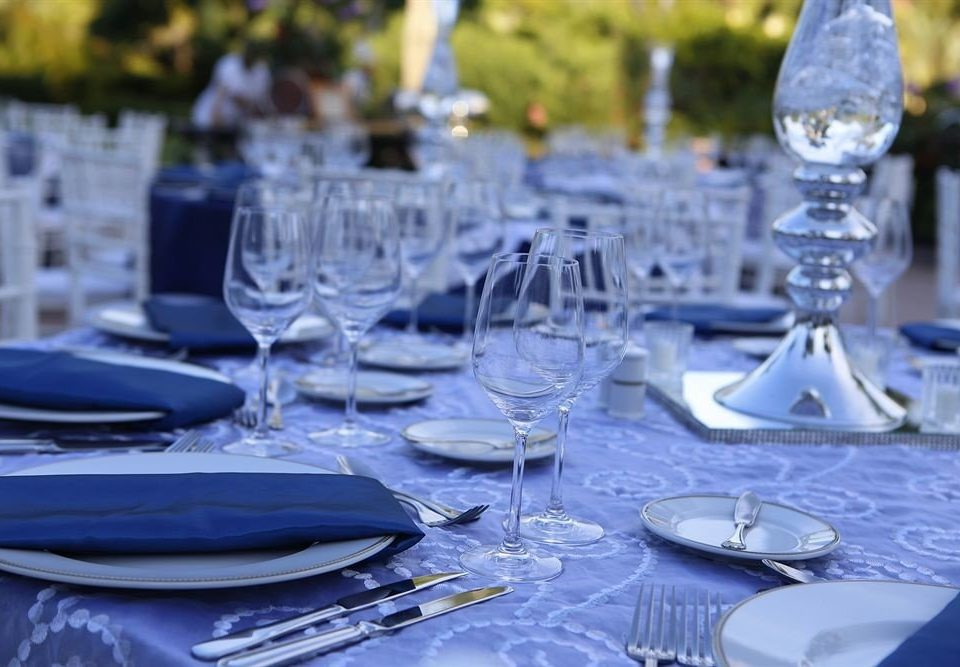 Dining Drink Eat Elegant Luxury wine glasses plate blue banquet empty centrepiece wedding dinner restaurant ceremony Party rehearsal dinner wedding reception dining table