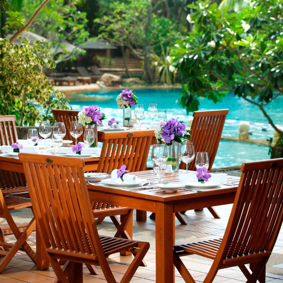 Dining Drink Eat Family Outdoors Patio Pool Resort tree chair restaurant backyard home cottage flower set dining table surrounded