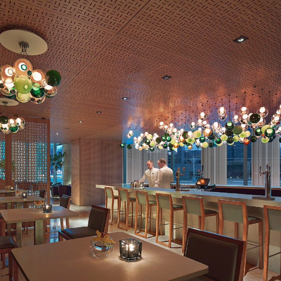 Dining Drink Eat Hip Modern Scenic views Lobby restaurant lighting