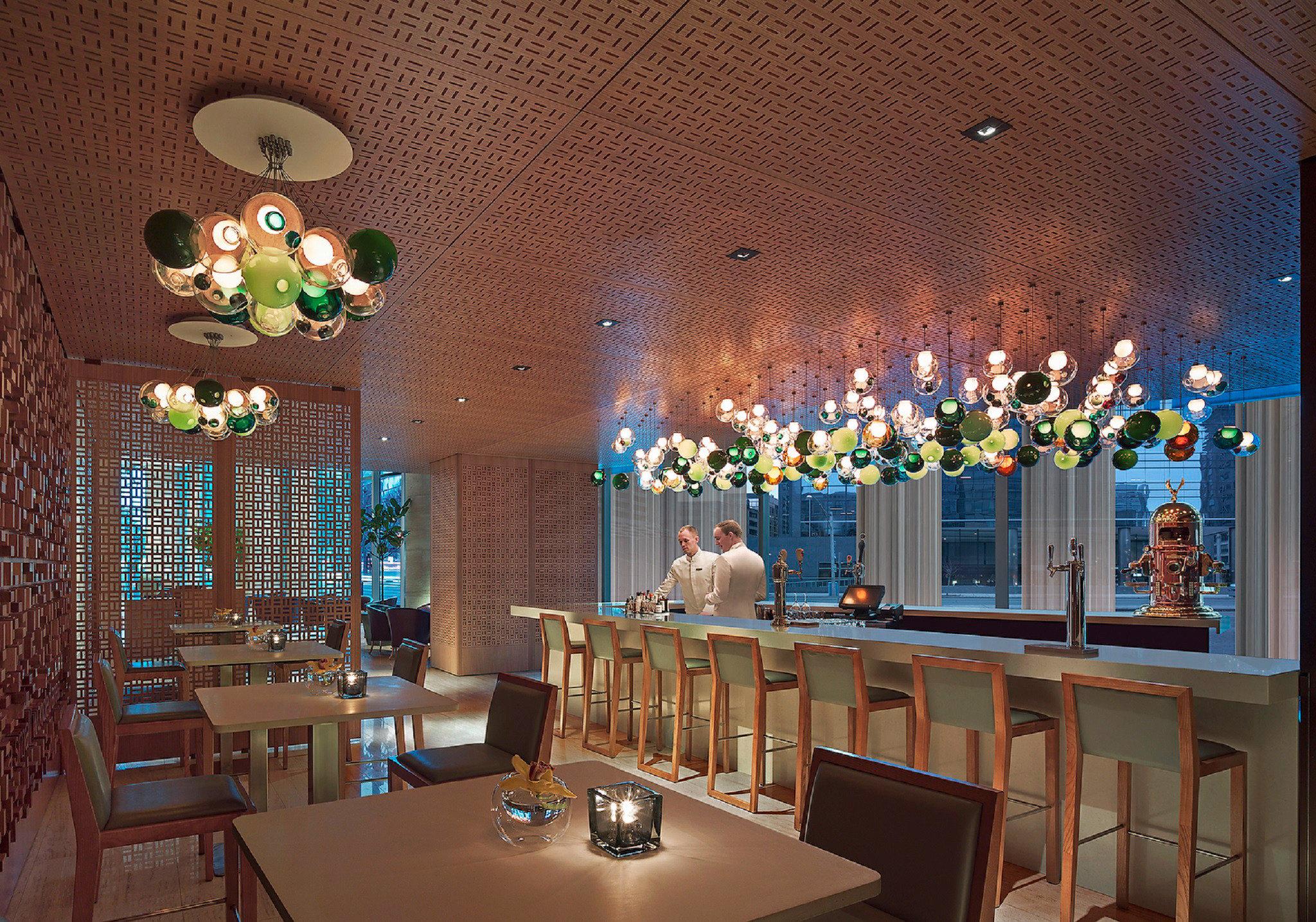 Dining Drink Eat Hip Modern Scenic views Lobby restaurant lighting