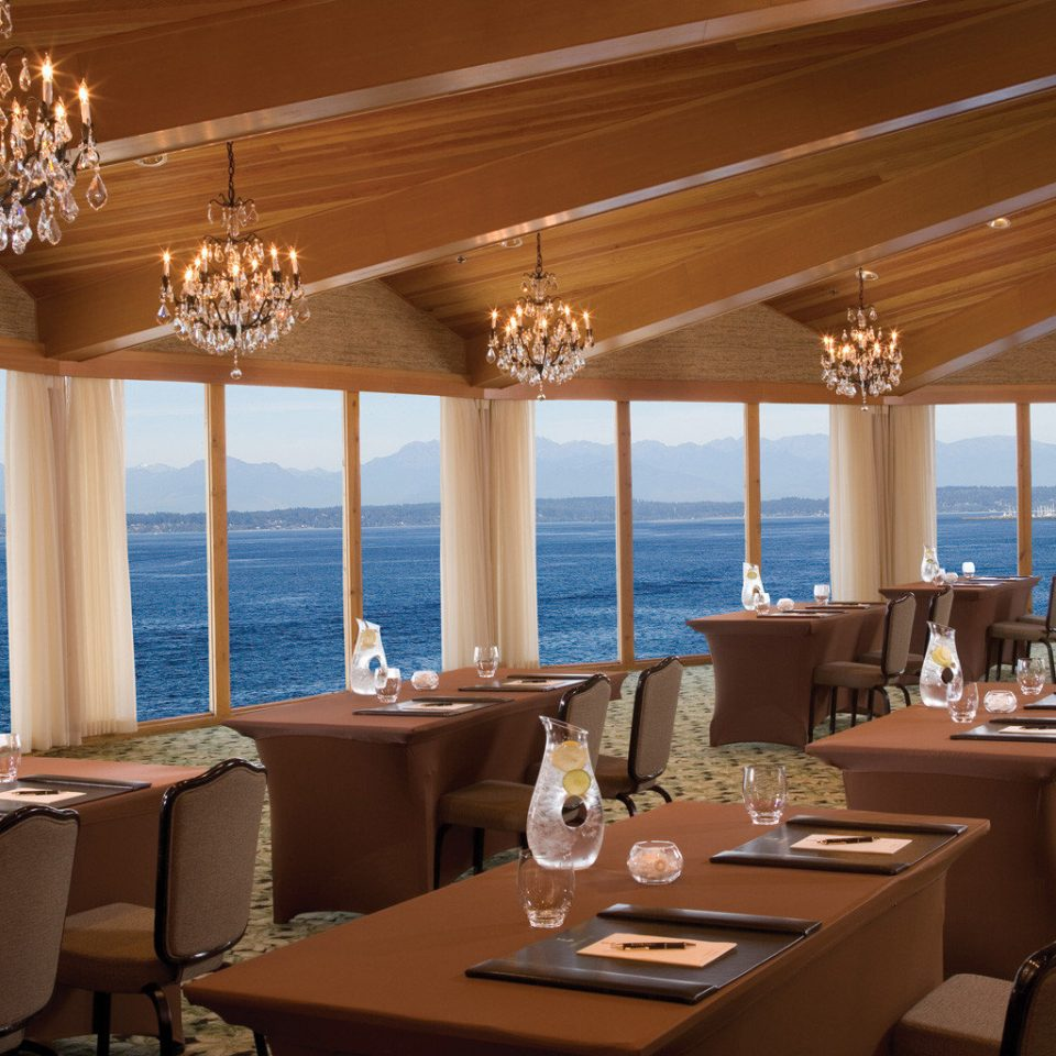 Dining Drink Eat Modern Scenic views Waterfront restaurant chair Resort yacht function hall Island overlooking set
