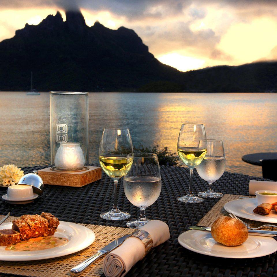 Dining Drink Eat Scenic views water sky food mountain morning restaurant breakfast Lake overlooking set