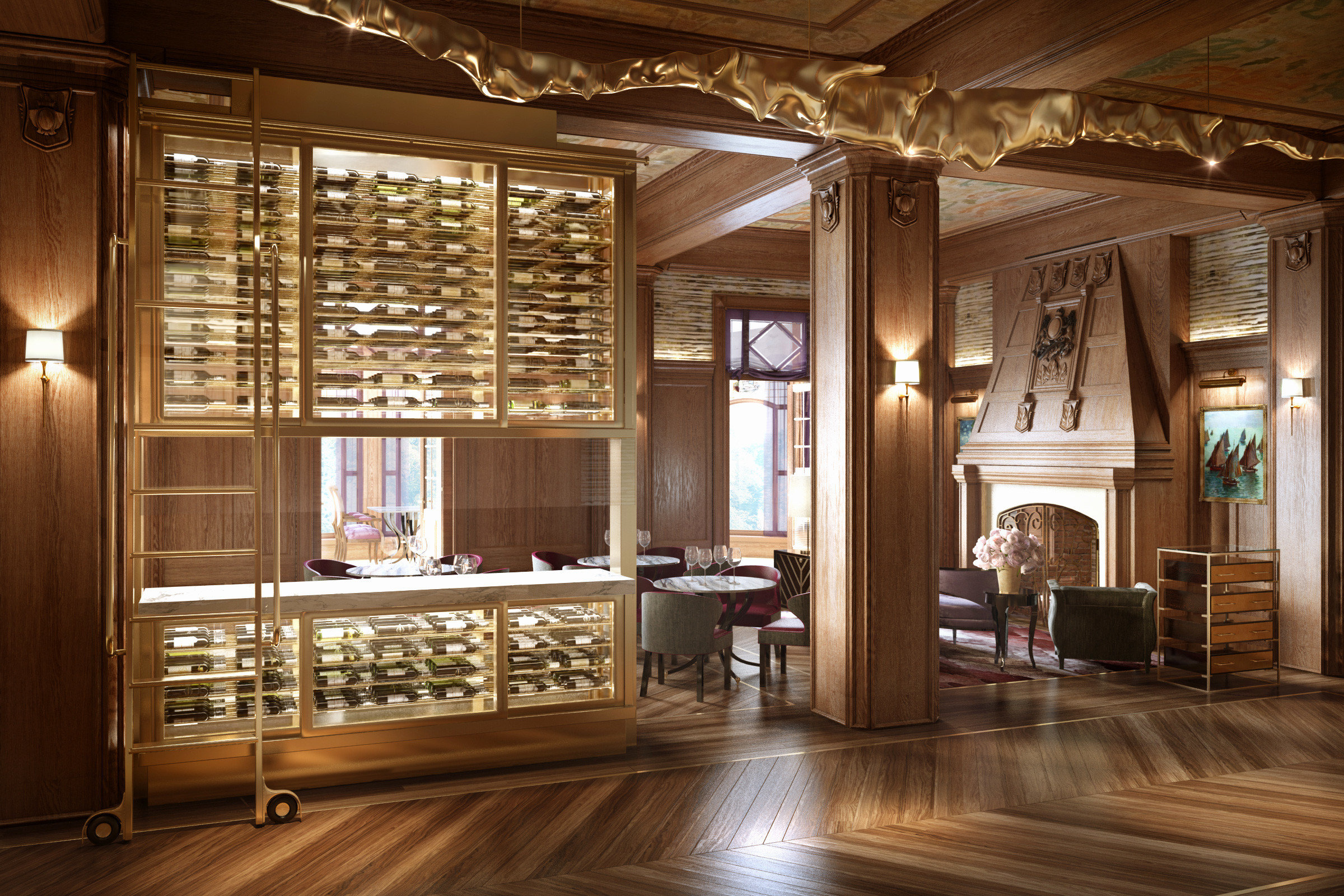 Dining Drink Eat Resort cabinetry hardwood living room home wooden lighting wood flooring Lobby mansion hard
