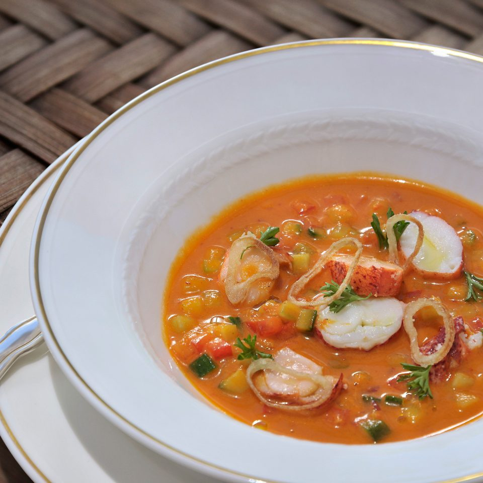 Dining Drink Eat Luxury Trip Ideas plate food soup bowl vegetable cuisine curry Seafood orange
