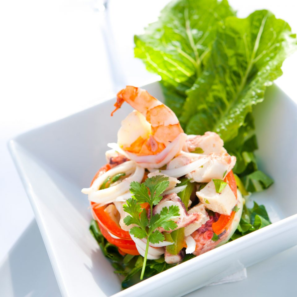 Dining Drink Eat food plate salad smoked salmon vegetable fish Seafood cuisine shrimp containing