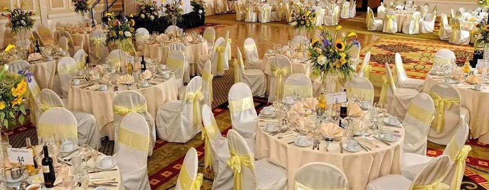 plate aisle banquet function hall wedding Dining dinner wedding reception ceremony centrepiece flower arranging floristry Party ballroom floral design full Drink dining table dessert set Shop