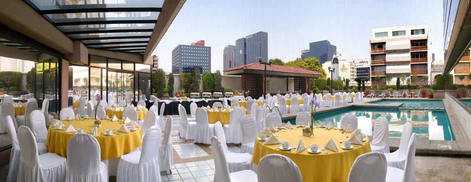 Resort function hall restaurant Drink aisle Dining wedding reception dining table
