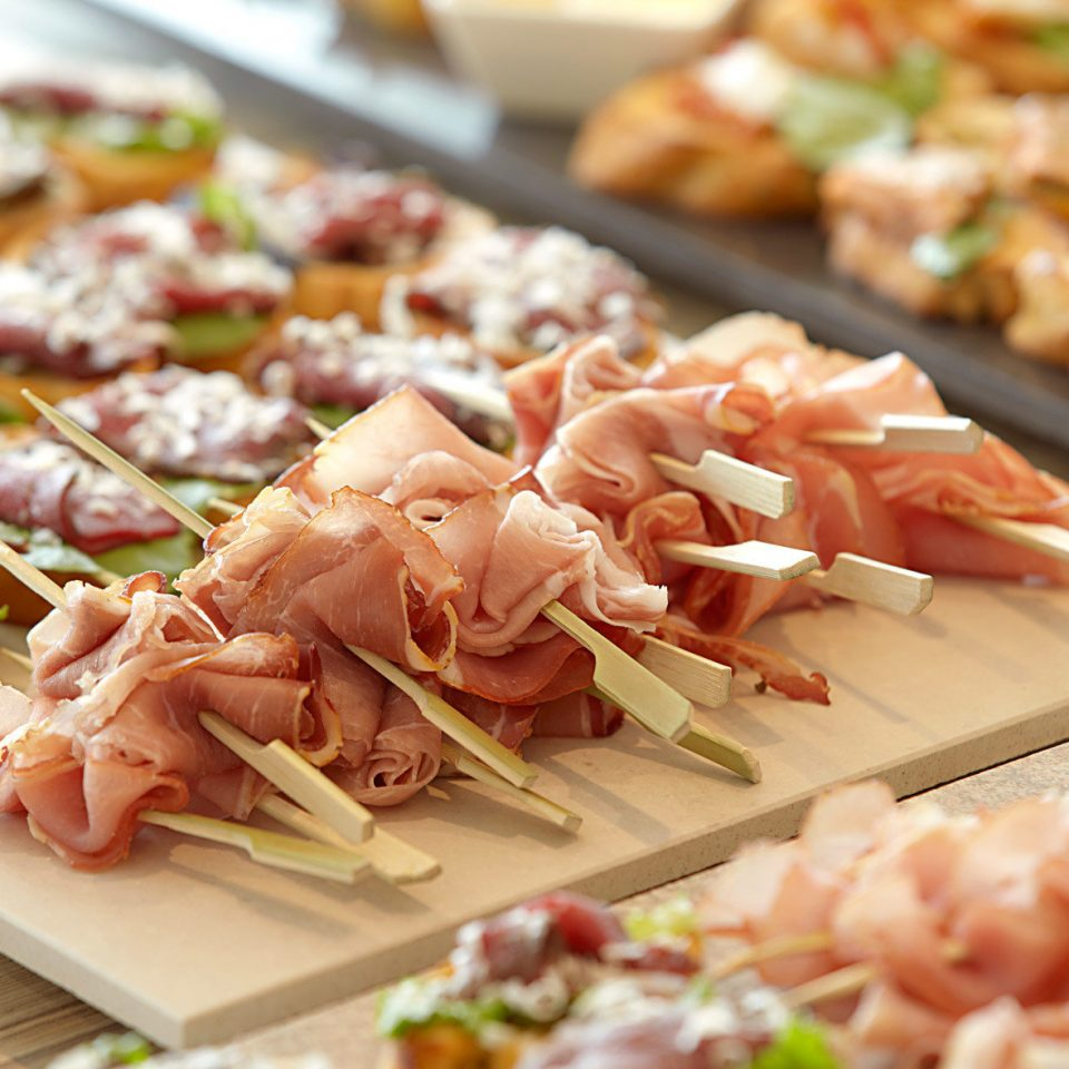 Dining Eat food hors d oeuvre cuisine buffet prosciutto meat grilled food asian food pincho different toppings sliced pizza
