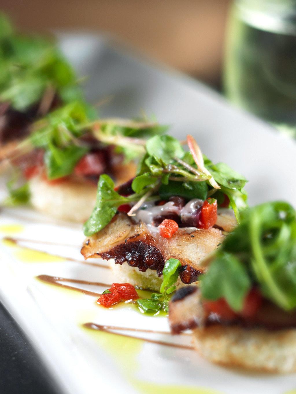 Dining Eat food plate bruschetta cuisine salad vegetable meat tostada breakfast close square fresh