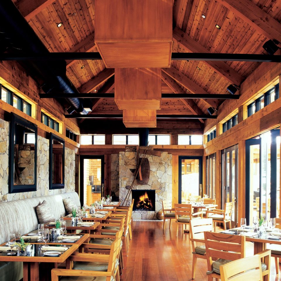 Dining Eat Eco Luxury Ranch Romance Romantic Rustic Wellness building wooden log cabin home restaurant farmhouse tavern living room Resort cottage
