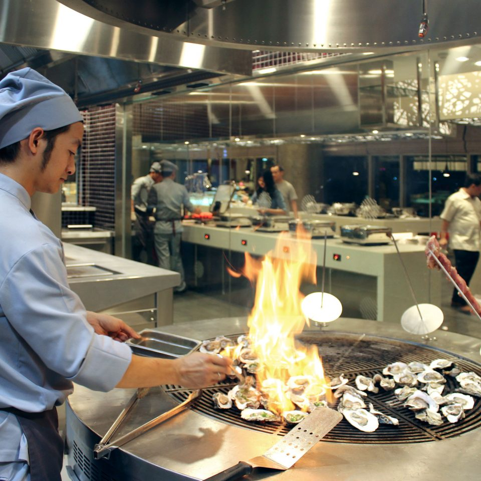 Dining Eat Entertainment Resort Kitchen preparing manufacturing cooking working restaurant machine factory grill
